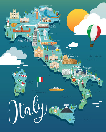 Italy map with attractive landmarks illustration.vector Çizim