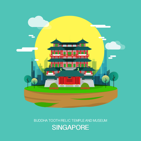 Buddha tooth relic temple and museum landmark in Singapore.vector