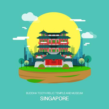 Temple de relique de dent de Bouddha et point de repère de musée dans Singapore.vector