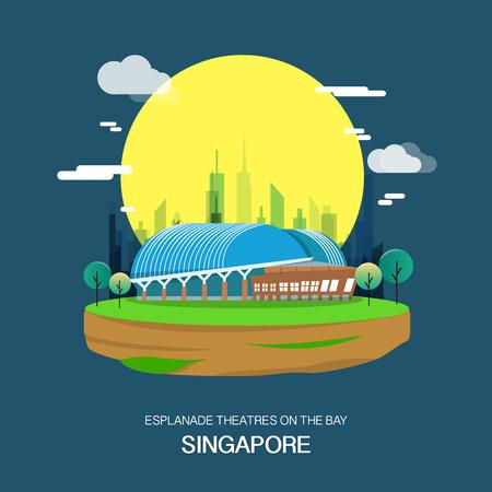 Esplanade theatre on the bay landmrak in singapore illustration design.vector Çizim