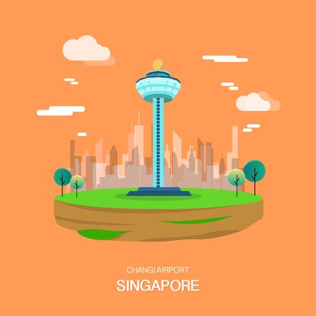 Punto di riferimento dell'aeroporto di Changi nel disegno di illustrataion di Singapore Vettore