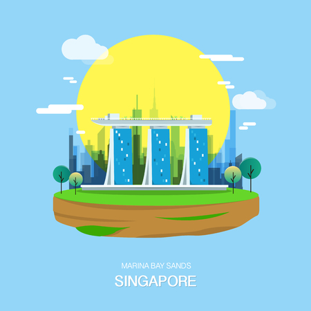 Maina bay sands landmark and attractive city in Singapore.vector