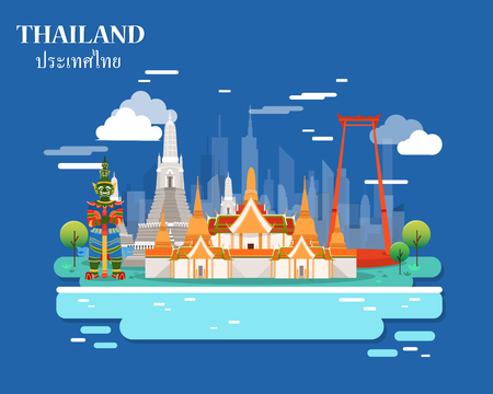 Tourist attraction and landmarks in Thailand illustration design.vector