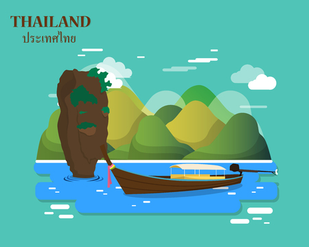 Tourist attractions and landmarks in Thailand illustration design.vector