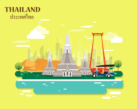 Thailand places and landmarks for traveling illustration on yellow background.vector