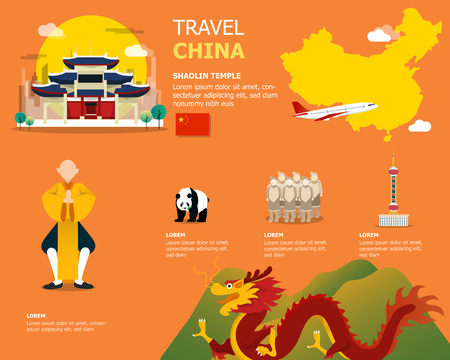 Map of the China and landmark icons for traveling