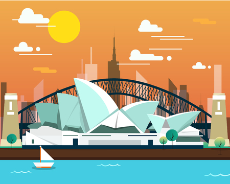 Sydney opera house and bridge for traveling