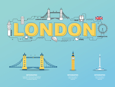 london tower bridge: London landmarks icons in England for traveling.vector Illustration