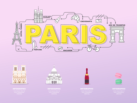 Paris sightseeing tour with landmark icons in France.vector