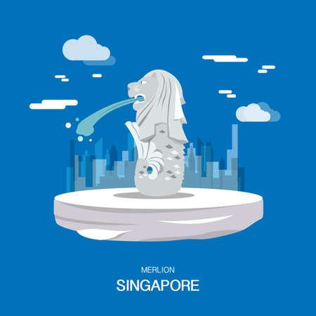 Merlion landmark and tourist attraction in Singpapore illustration design. Illustration