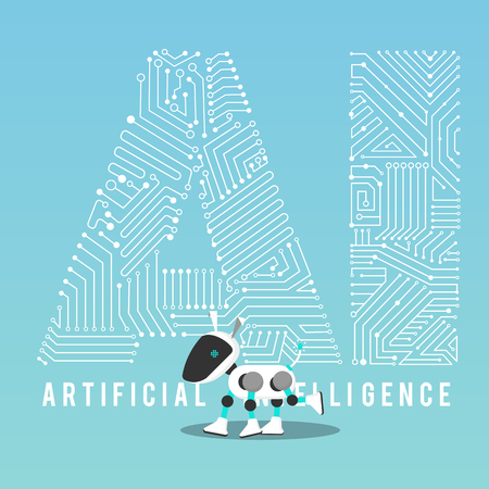 AI dog robot with mechanism illustration