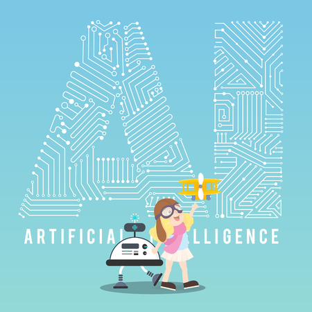 AI robot with assistant illustration design