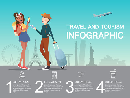 Man and girl planning at airport for traveling infographic