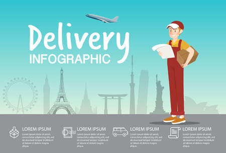 Delivery boy with order at airport infographic design