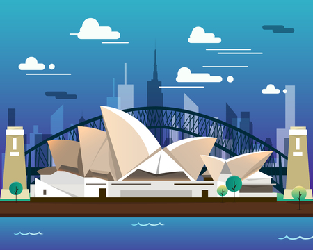Sidney opera house and bridge for traveling Ilustrace
