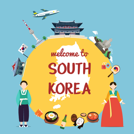 Welcome to South Korea with landmarks and tradition Ilustrace