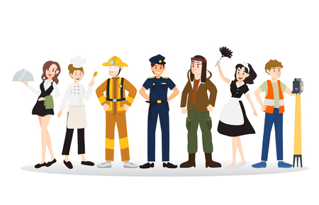A group of people of different professions illustration design