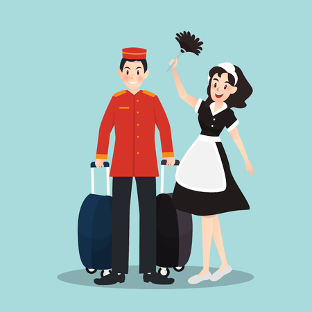 Bellboy and housekeeper in different character