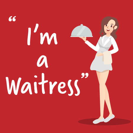 Waitress character with tray on red background Illustration