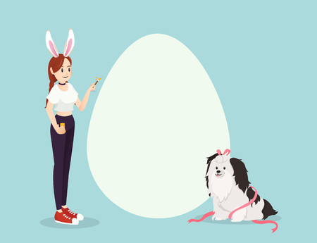 Girl and dog on Easter day with copyspace