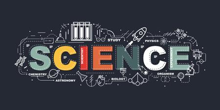 Koncepcja projektu banera witryny internetowej Word Science. Ilustracje wektorowe
