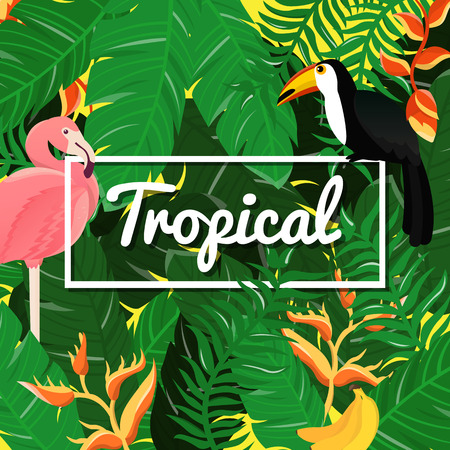 Tropical Flowers Background. Summer Design. Vector.