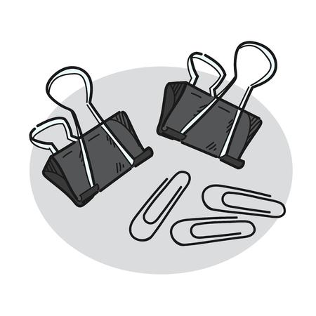 Paper clip illustration on a white background Stock Illustratie