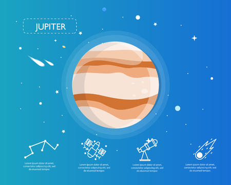 The Jupiter info-graphic in universe concept illustration.