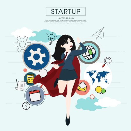 Superhero business woman cartoon for start up concept. Illustration