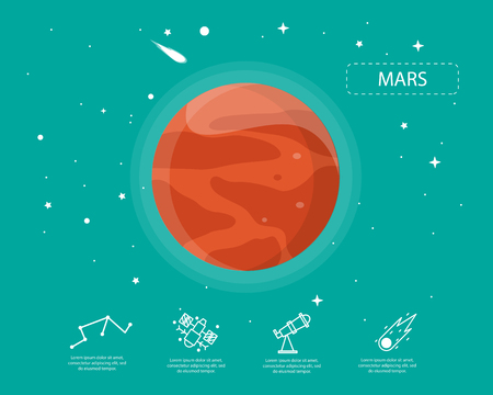 The mars infographic in universe concept.