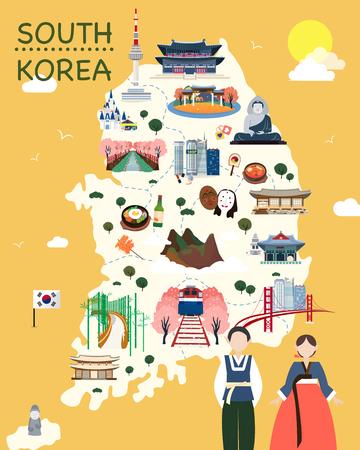 Karte von Korea Sehenswürdigkeiten Vektor und Illustration.