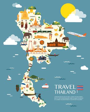 Thailand kaart met kleurrijke oriëntatiepunten illustratie ontwerp