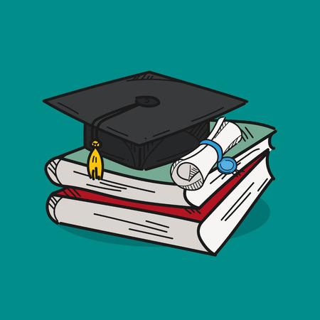 Graduation cap illustration on color background 向量圖像