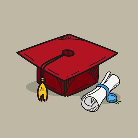 Graduation cap illustration on color background 일러스트