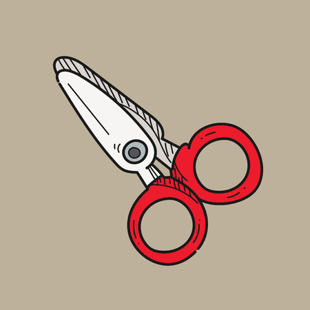 scissors illustration on color background