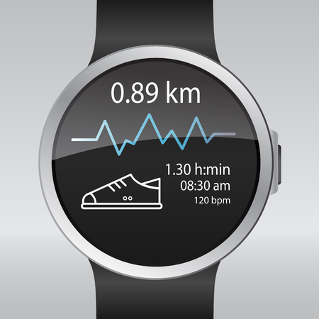Smart electronic intelligence watch.Vector illustration  イラスト・ベクター素材