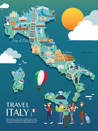 Carte De L'Italie Attractions Vecteur Et Illustration.