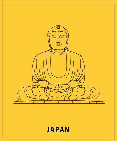 Great Buddha of Kamakura.hand drawn sketch