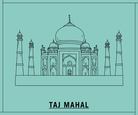 Taj mahal.hand drawn sketch
