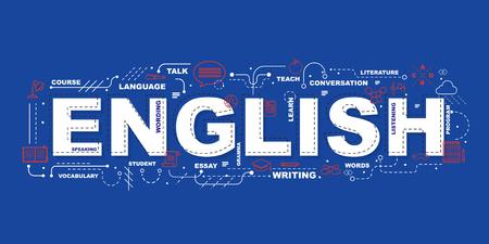 Englisches Wort für Bildung mit flachem Design der Ikonen