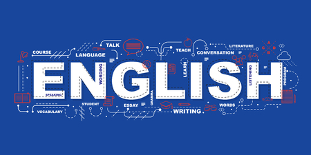 English word for education with icons flat design