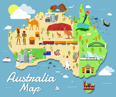 Map Of Australia Attractions Vector And Illustration.