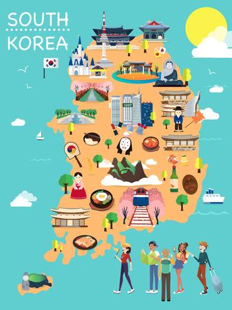 Mappa Della Corea Attrazioni Vettoriale E Illustrazione.