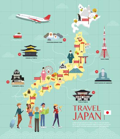 Karte von Japan Sehenswürdigkeiten Vektor und Illustration. Vektorgrafik
