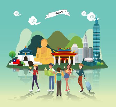 Points de repère d'attraction touristique dans la conception d'illustration de Taiwan