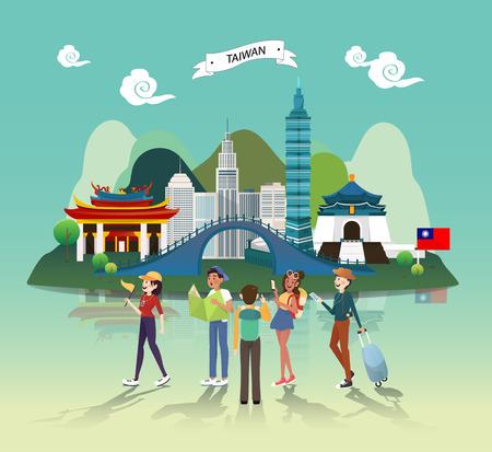 Tourist attraction landmarks in Taiwan illustration design