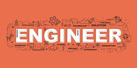 Design Concept Of Word ENGINEER Website Banner. Vektoros illusztráció