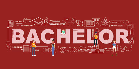 Design Concept Of Word Bachelor Website Banner.
