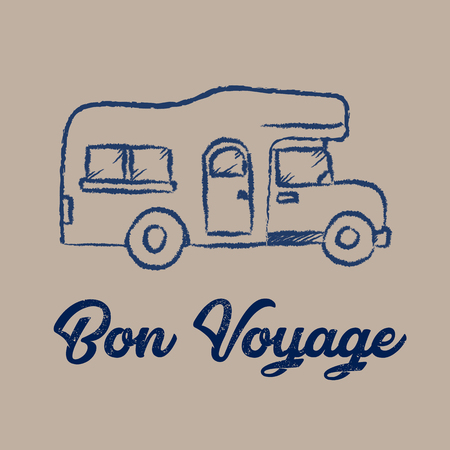 Line drawing of RV car and bon Voyage concept Ilustrace