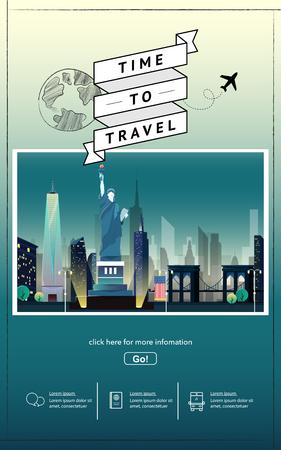 Travel to Newyork presentation template. Illustration